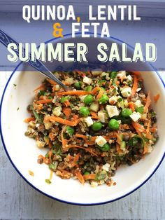 Lentil, Quinoa and Feta Summer Salad.  WOW!  Quinoa, green/brown lentils, carrots, peas, cucumber, garlic, scallion, mint and feta.  A little dressing with ginger, cumin, lemon juice, dijon mustard, cider/wine vinegar and olive oil just makes this zing.