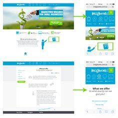 Juxtaposition of the ImagiWorks website as viewed on a desktop (left) and mobile device (right) #marketing #graphicdesign #mobileapps #mobilewebsite #mobilewebsites #mobile #webdesign