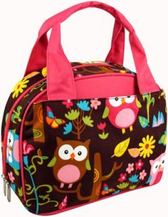 Owl Hot Pink Lunch Bag