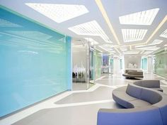 Sarvodya Hospital is a multisuperspeciality hospital. Commercial Interior Design, Office Interior Design, Commercial Interiors, Modern Interior, Medical Office Design, Healthcare Design, Lobby Interior, Interior Exterior, Hospital Architecture