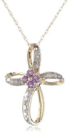 """10k Yellow Gold  Amethyst and Diamond Cross Pendant (1/10 cttw, I-J Color, I3 Clarity), 18"""" Amazon Curated Collection,  To SEE or BUY just CLICK on AMAZON right here http://www.amazon.com/dp/B001AWZUSE/ref=cm_sw_r_pi_dp_zSVDtb0CJQE2XBWX"""