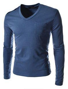 1d2b144bc1b8 Fit Slim Pocket Decoration T-Shirt Men Solid Top Tees