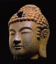 Head of Buddha, Korea, Unified Silla Dynasty, cast iron-Detroit Institute of Arts