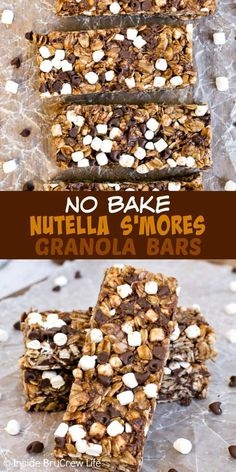 No Bake Nutella S'mores Granola Bars - these homemade chocolate granola bars have lots of mini marshmallows and more chocolate inside. Perfect recipe to make for breakfast or after school snacks. snacks homemade No Bake Nutella S'mores Granola Bars Nutella Snacks, Nutella Recipes No Bake, No Bake Recipes, No Bake Granola Bars, Healthy Granola Bars, Chocolate Granola Bars Recipe, Granola Bar Recipe Easy, Recipe For Snack Bars, Granola Bar Recipes