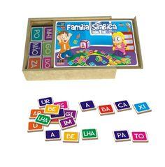 Família Silábica 150 peças - Madeira - Sílabas - ABC Brinquedos