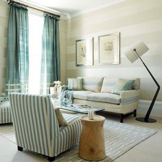 Blue striped living room    via House to Home