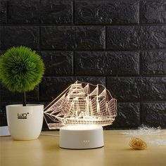 Lampe 3D Bateau Impression 3d, Lampe 3d, Bateau Pirate, Planter Pots, Lighting, Home Decor, Night Lamps, Night Light, Boats