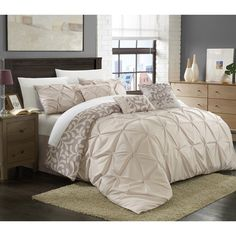 Chic Home Trefort Pinch Pleat Oversized Overfilled 11-piece Bed in a Bag with Sheet Set