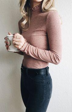 Cute rose pink long sleeve top and dark jeans Pinterest @ schneider24 Insta @ annette_schneider
