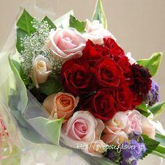 幸せな花束の記録♪  #薔薇#バラ #紅薔薇#バラの花束#薔薇花束 #花屋 #フラワーショップ #flowershop #flowerdesign #プロポーズフラワー #propose