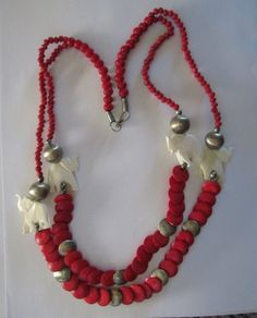 """FREE~Lovely~ Hard Elephants With Red Beads Necklace 28"""" L."""