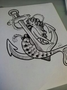 Mermaid anchor tattoo design