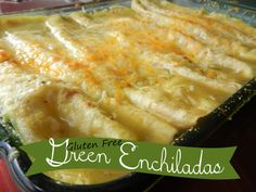 Gluten Free Green Enchiladas - can also use Udi's GF Flour Tortillas instead of Corn tortillas!