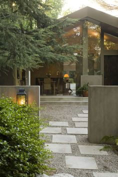 24x24 Concrete Pavers Exterior Contemporary with Concrete Wall Container Plants