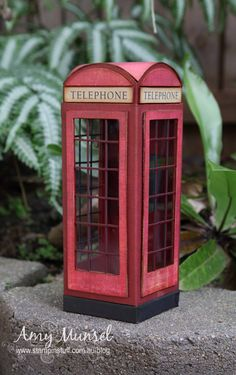 London Telephone Booth made from scratch using scrapbook paper and chipboard.