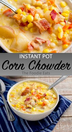 This Instant Pot corn chowder is a full meal in a bowl and packed with flavor on all levels. It's rich, savory, slightly spicy, and a tad sweet, Easy Corn Chowder, Chicken Corn Chowder, Cooker Recipes, Soup Recipes, Kitchen Recipes, Recipes Dinner, Bbq, Pressure Cooking Recipes, Instant Pot Pressure Cooker