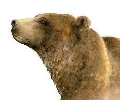 Watercolor bear print bear watercolor painting bear art