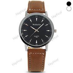 Presell Fashion Elegant Simple Silver Design Quartz PU Leather Band Men Watch Wrist Watch Timepiece WWT-377359