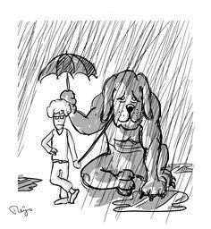Wat een hondenweer! [=honde(n)weer betekent 'heel slecht weer'] Er werd letterlijk mee bedoeld: 'zulk slecht weer dat je zelfs een hond naar binnen zou halen'. E: What beastly weather! / What lousy weather! F: Quel temps de chien! D: Was für ein Hundewetter! I: Che tempo da lupi! S: ¡Qué tiempo de perros!