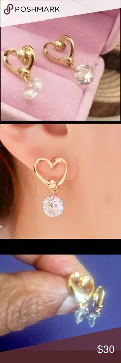 496ffda95d7c Gold plated heart studs with crystal diamond NWT