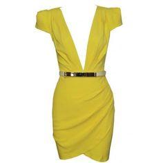 Yellow Body Con Dress