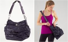 Lululemon Hot Yoga Hobo Gym Bag in Black Seabed with Tinted Canvas Interior Lululemon Bags, Hot Yoga, Hobo Bag, Rebecca Minkoff, Gym Bag, Canvas, Mini, Interior, Black