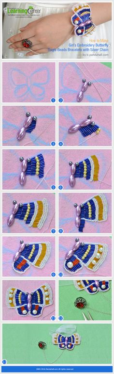 How to Make Girl's Embroidery Butterfly Bugle Beads Bracelets with Silver Chain