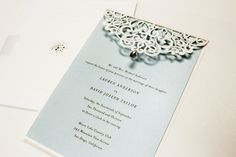 Beautiful laser cut card perfect for a Winter Wedding  #weddinginvitations  #wedding  #invitations