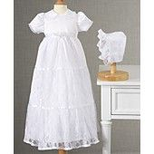 Lauren Madison Baby Dress, Baby Girls Lace Tiered Christening Dress