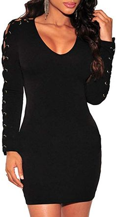 30dad660ad8d  SOMTHRON  Women Sexy Ribbed Lace Up Bodycon Short Club Dress Long Sleeve  Surplice Mini