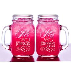 Mr and Mrs Set of 2 Personalized Mason Jars Drinking Mugs with Handle Personalized Custom Etched with Name and Date for Wedding, Engagement Anniversary Bridal Party Gift of Favor for Newlyweds Couple Etched Laser Engraved His and Hers Couple Gift Idea Custom-Engraved-Glasses-by-StockingFactory http://www.amazon.com/dp/B00KA908CG/ref=cm_sw_r_pi_dp_QgYHub16F9G9D