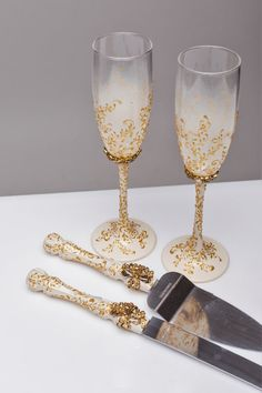 Gold Wedding Gles And Cake Server Set Knife Ivory Cutting Toasting Flutes Champagne Of 4