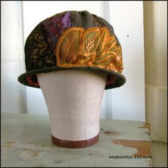 Brown Tattered Patchwork Upcycled Cotton Cloche Hat with Beaded Applique and Recycled Neckties Cloche Hat, Tee Shirts, Tees, Upcycled Vintage, Hat Making, Couture, Vintage Fashion, Vintage Style, Recycling