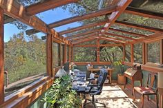 A California version of the home office. 914 N Topanga Canyon Blvd. Closed In Porch, Topanga Canyon, Oak Grove, Home Office, Pergola, Home And Family, Shed, California, Outdoor Structures