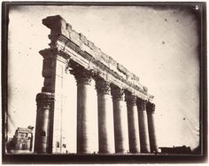 Colonnade, northwest corner of the courtyard, Temple of Bel, Palmyra, Syria, Louis Vignes, 1864