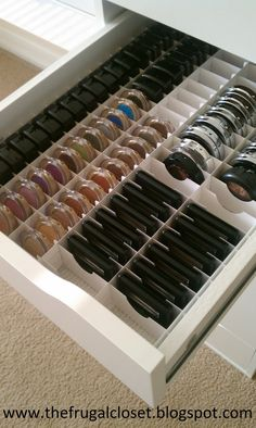 For your drawers, use thick sheets of posterboard to create compartments for all your makeup needs.