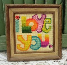 VINTAGE Needlepoint FRAMED  I made this !!.....so did I...still get it out at christmas.
