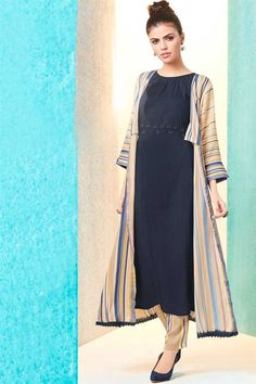 ee0a6ec558 Stylish Printed Cotton Kurti In Navy Blue With Palazzo And Jacket