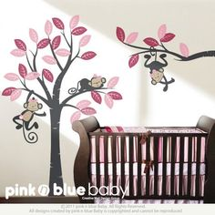 Wall Decal Girl monkeys on the tree - Baby Nursery Wall Decals | pinknblueBaby - Children's on ArtFire--I'm not sure if these are reusable, but they are super cute!