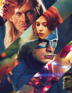 The Avengers: Hawkeye, Thor, The Black Widow, Captain America, Iron Man, and Hulk.