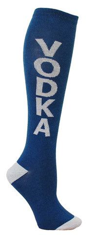 Blue knee high socks with VODKA in grey lettering and cushioned footbed.  Unisex design: fits a women's shoe size 7 - men's 13.5.