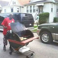 This BBQ man, who goes around the neighborhood like an ice cream truck:   32 People You Wish You Had As A Best Friend