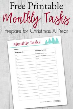 Get a free printable monthly tasks list to help you stay organized and have a stress-free Christmas. Includes budget information! #freeprintable #organization