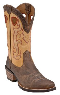 Ariat Rawhide Men's Earth Brown with Seashell Square Toe Cowboy Boots