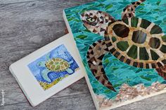 Turtle Mosaic by Kupava Mosaic Glass, Stained Glass, Custom Glass, Wall Decor, Wall Art, New Home Gifts, Red Glass, Turtle, Craft Ideas