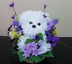 Floral Puppies | Details about Bichon Puppy Silk Flower arrangement