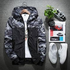 Cheap army clothing, Buy Quality camouflage military jacket directly from China mens bomber jacket Suppliers: Mwxsd Brand Men Bomber Jacket Thin Slim Long Sleeve Camouflage Military Jackets Hooded 2017 Korean Style casual Army Clothing Fishing Jacket, Army Clothes, Camouflage Jacket, Autumn Clothes, Fishing Outfits, Fishing Shirts, Style Casual, Jacket Style, Hooded Jacket
