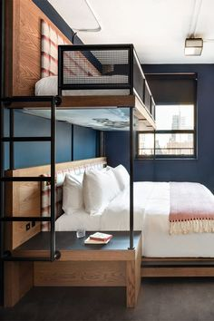 Double Eagle Project Bunk Room + Bath Reveal – Home Design and Fashion Site Room Design Bedroom, Home Room Design, Home Decor Bedroom, Home Interior Design, House Design, Small Rooms, Small Spaces, Ideas Cabaña, Bunk Beds Built In