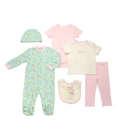 Take a look at this Mint & Pink Floral Footie Set - Infant today!