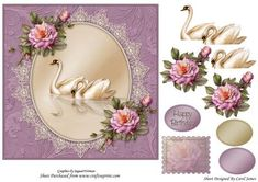 Topper Elegant 1 on Craftsuprint designed by Carol James - Beautiful flowers on a oval shape with a lace surround embellished with pearls. Some decoupage pieces for that 3d effect. 1 sentiment tags and 2 blank tags are provided. Greetings included are 'Happy Birthday'. Can be used for lots of different occasions. A stamp image is also included for you to use as a gift tag, an insert or on the back of the card. - Now available for download!